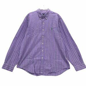 Ralph Lauren Men's Long Sleeve Button Front Shirt Size XL Purple Striped