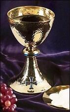 "Solid Brass w 24KT Blue Enamel Cross Catholic Altar Chalice w Paten 7 3⁄4"" H"