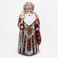 "7"" SANTA CLAUS PAPA NOEL STATUE CHRISTMAS RUSSIAN HAND CARVED WOODEN FIGURE"