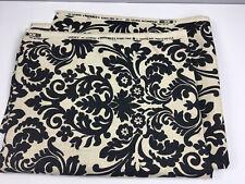 Waverly Screen Print Fabric 1.94 Yds Upholstery Black Natural Linen USA