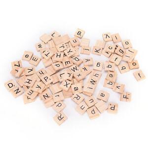 100Pcs Wooden Alphabet Scrabble Tiles Black Letters & Numbers For Crafts Wood_QA