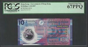 Hong Kong 10 Dollars 1-10-2007 P401b Uncirculated Grade 67