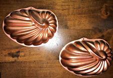 Vtg Small Mirro Single Serve Jello Mold Wall Hanging Copper Tone Sea Shells