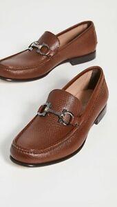 NIB Salvatore Ferragamo Prat Brown Textured Leather Loafers 11.5EE