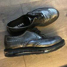 Prada Oxfords Shoes 2EE09811 Men Size 12 Metallic Leather Lace Up MADE IN ITALY