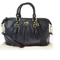 Auth Coach 21222 2WAY Leather Handbag Black 33GA608