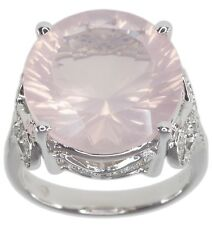 Rose Quartz Gemstone Round 13.42 carats Sterling Silver Ring size O