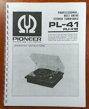 Pioneer PL-41 Turntable Owners Manual