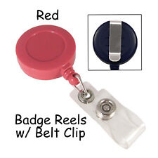 25 Id Badge Reels Lanyards - Red - Retractable with Belt Clip & Plastic Strap