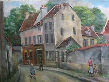 Rue à Orly . Important tableau de Raymond BESSE ( 1888-1969 ) . Vue animée !