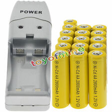 16 batterie AA ricaricabili NiCd 2800mAh 1.2V Solar Light + Charger
