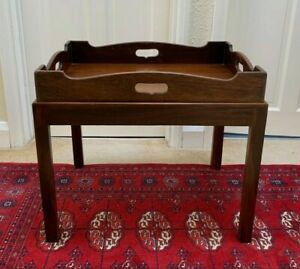 Antique Mahogany Georgian Butlers Tray on stand - Coffee Table or Removable Tray