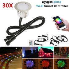 30PCS Smart WIFI RGB+WW 12V 31mm Outdoor LED Deck Step Lights for Alexa Control
