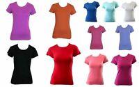 Women's Ladies Soft Stretch T Shirt Tee Top Basic Plain White Black Crew Neck