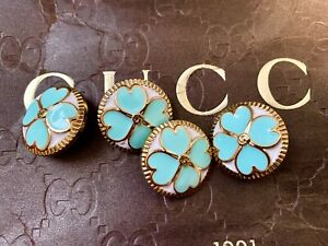 Set Of Four (4) Gucci Designers Gold Tone Green Shamrock Buttons, 20mm