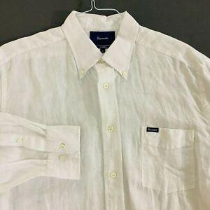 FACONNABLE CLASSIQUE WHITE 100% LINEN SPORT SHIRT MINT COND. SIZE XL