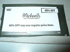 Gift Card coupon MICHAELS crafts hobby 40% off item purchase gifts ExpDec2017