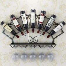 7 Bottle European Retro Iron Art Wine Rack Wall-mounted Creative Wall Hanging