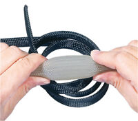 BRAIDED EXPANDABLE CABLE SLEEVING  AUTO WIRE HARNESSING CUT LENGTHS BLACK/GREY