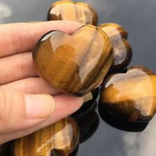 Natural Tiger's-Eye Stone Crystal Carved Heart Shaped Palm Healing Love Gemstone
