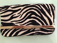 HALSTON Zebra Print Black&White Women Fashion Clutch Purse Evening Bag Ret $1695