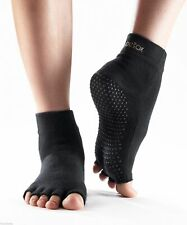 Toesox Yoga Socks No Slip All Grip Half Toe 5 Five Fingers Size L Black