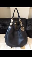 Michael Kors Fulton Large Shoulder Bag,handbag,used,Black Leather,RRP398
