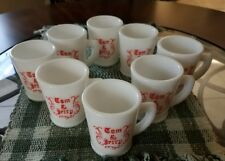 Vintage 1940's McKee Tom and Jerry Punch Cups(8) Red Old English Beaded Edge