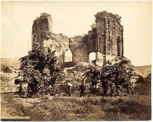 Naples Baja Temple of Venus Large vintage albumen photo 1860c Robert Rive