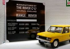 Land Range Rover Classic 2 Door Suffix A Alloy Chassis Plate Number Engine Bay