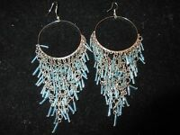 Chandelier Dangle Statement Earrings Beaded Linked Chain Blue Silver Tone Hoop