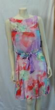 RALPH LAUREN MULTI FLORAL BELTED FLIRT TAIL DRESS SIZE 14