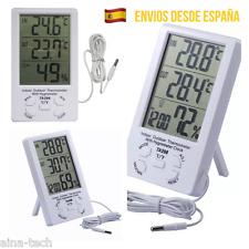 Termómetro Higrometro De Exterior E Interior Temperatura Reloj Sonda Hogar Nuevo