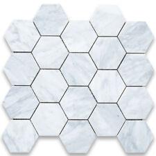 C33XH Carrara White 3 inch Hexagon Mosaic Tile Honed