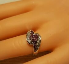 Amethyst Classic Engagement Ring ~ 6.5 Simulated Diamon Platinum Plated Oval Cut
