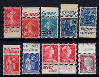 BY142872/ FRANCE – STAMPS WITH ADVERTISING – YEARS 1925 - 1960 MINT MNH
