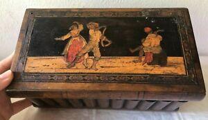 Antica scatola segreto in legno -portagioie /arte sorrentina -Souvenir Sorrento