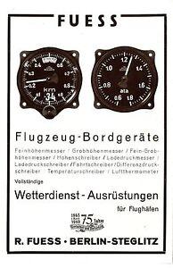 75 Jahre R.Fuess Berlin-Steglitz Flugzeug-Bordgeräte Ausrüstungen Flughäfen 1940