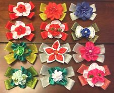 Dog Hair Bows Pixie Design for Christmas 2.5 inch size -Pick any 3