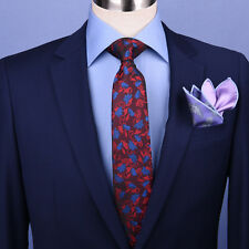 "Burgundy & Blue Floral  3"" Necktie Business Elegance Italian Traditional Style"