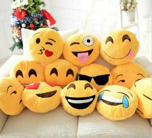 NEW EMOJI SMILEY EMOTICON YELLOW ROUND CUSHION PILLOW STUFFED PLUSH SOFT TOY UK