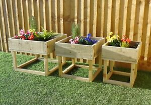 Raised Legs Square Garden Flower Bed Planters - Treated Rustic Timber - COLOURS