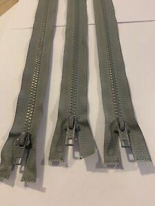"""Grey Plastic Chunky Open End Zip /23""""jacket zip-grey zip--"""