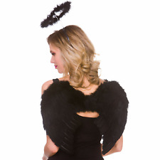 Adult Black Ladies Feather Wings & Halo Halloween Fancy Dress Costume Accessory