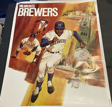 SCARCE 1971 BASEBALL PROMOTIONS/MLB~MILWAUKEE BREWERS~23x29 INCH~POSTER PREMIUM