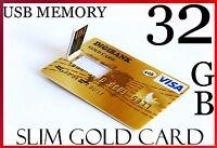 32GB USB High Speed Flash Memory Card Stick Drive Pen Slim GOLD CARD DESIGN 32G