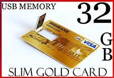 USB 32 GO HIGH SPEED Carte Mémoire Flash Stylo Bâton Lecteur Design ultraplat Gold Card 32G