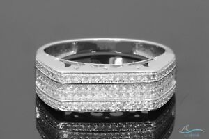 White Gold Over Diamond Men's Wedding Band Round Engagement Ring 1.50 Ct