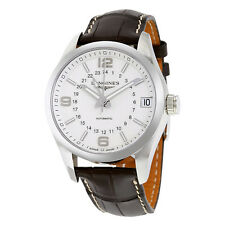 Longines Conquest Classic White Dial Brown Alligator Leather Mens Watch