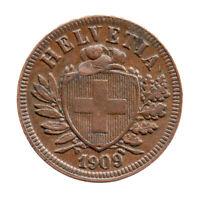 KM# 4.2 - Schon# 16 - 2 Rappen - Helvetia - Switzerland 1909B (EF)